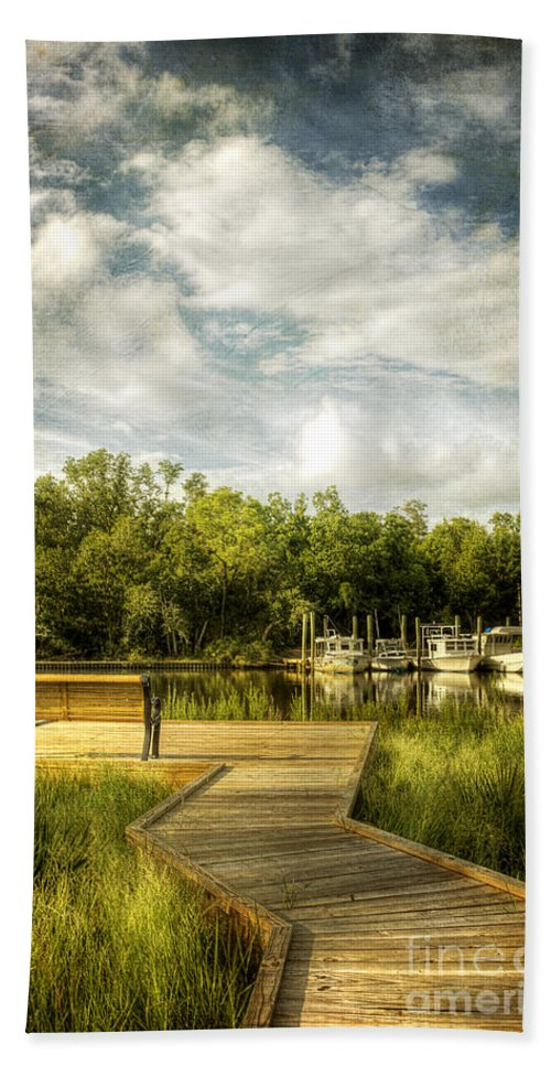 Ocean Springs Beach Towel featuring the photograph Inner Harbor View by Joan McCool
