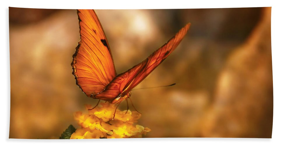 Julia Heliconian Beach Towel featuring the photograph Insect - Butterfly - Just A Bit Of Orange by Mike Savad