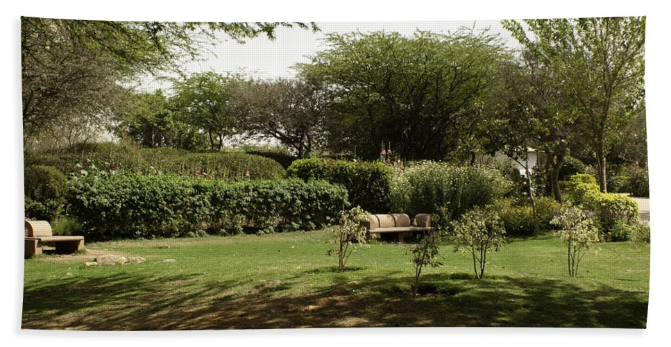 Bench Beach Towel featuring the photograph Inside The Garden Of 5 Senses In Delhi by Ashish Agarwal