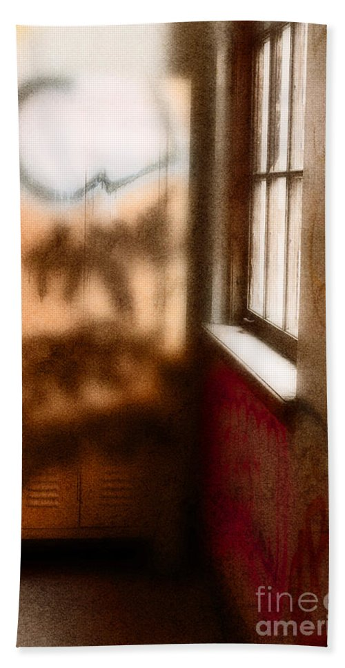 Graffiti; Wall; Lockers; Window; Colors; Colorful; Blur; Blurry; Blurred; Out Of Focus; Spray Paint; School; Building; Hall; Hallway; Destroyed; Vandal; Vandalism; Slums; Derelict; Architecture; Criminal; Crime; Indoors; Interior; Inside Beach Towel featuring the photograph Institution by Margie Hurwich