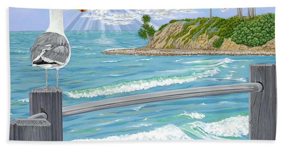 Sea Gull Beach Towel featuring the painting Intensity by John Wilson