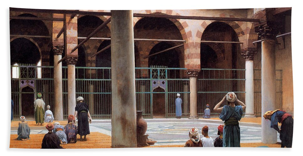 Orientalism Beach Towel featuring the photograph Interior Of A Mosque by Munir Alawi