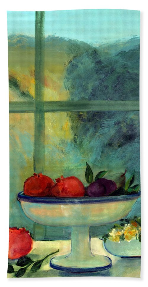 Fruit Beach Towel featuring the photograph Interior With Window And Bowl Oil & Acrylic On Canvas by Marisa Leon