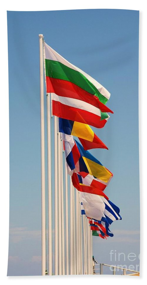Flags Beach Towel featuring the photograph International Flags Nisyros by David Fowler