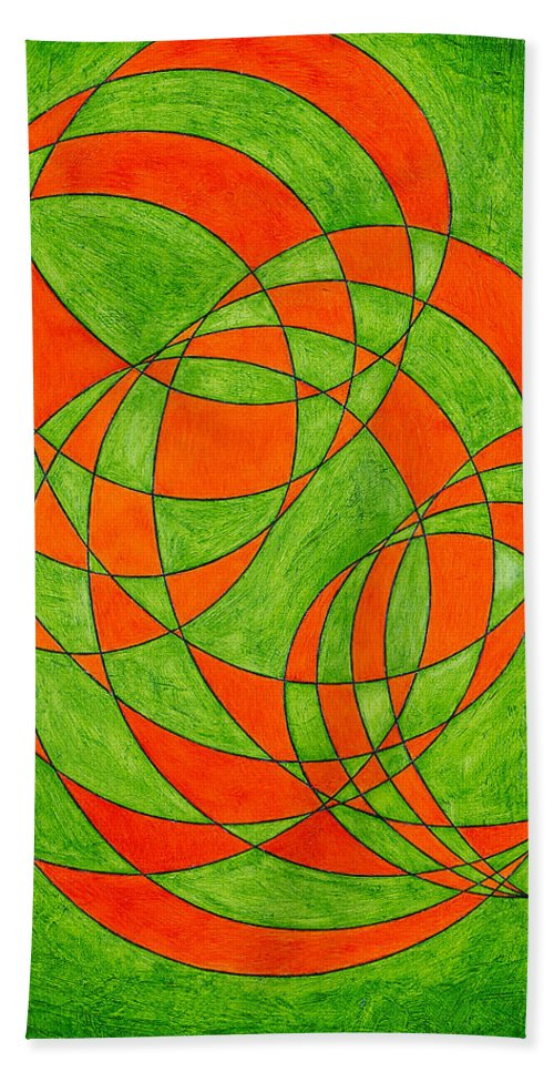 Abstract Oil Painting Beach Towel featuring the painting Intersection, No. 1 by Mark Lewis