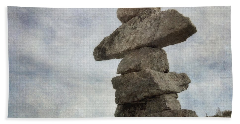 Inuksuk Beach Towel featuring the photograph Inuksuk by Priska Wettstein