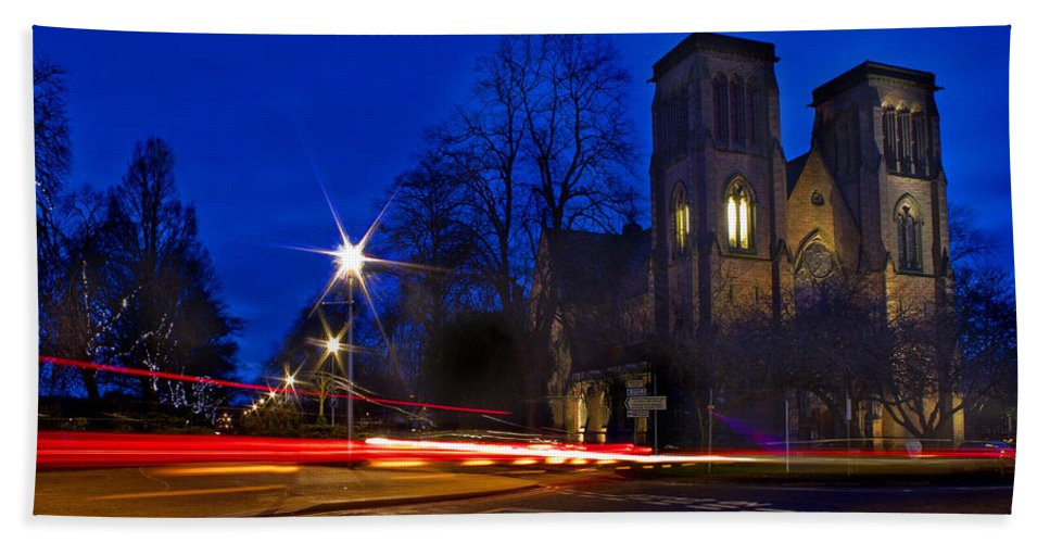 Cathedral Beach Towel featuring the photograph Inverness Cathedral At Night by Joe Macrae