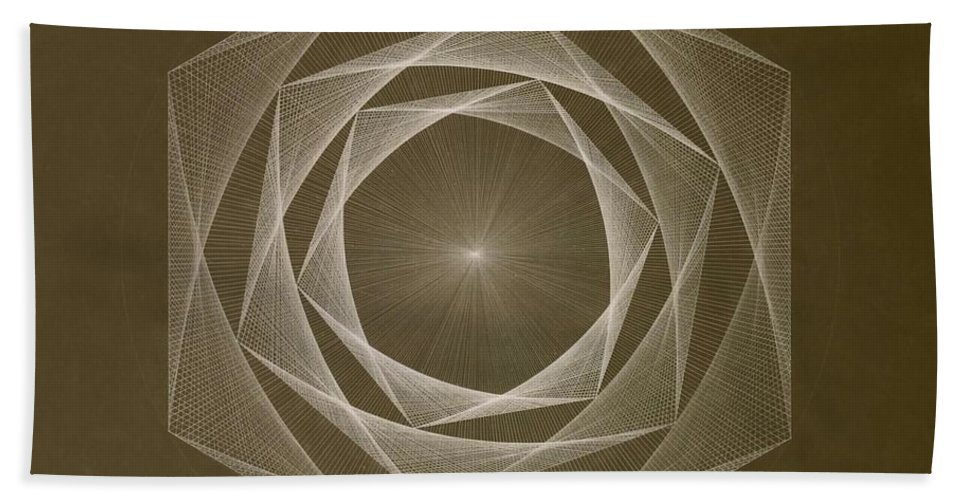 Drawing Beach Towel featuring the drawing Inverted Energy Spiral by Jason Padgett