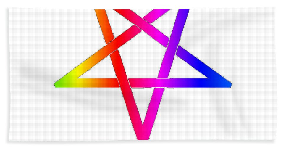Inverted Beach Towel featuring the digital art Inverted Rainbow Pentagram by Frederick Holiday