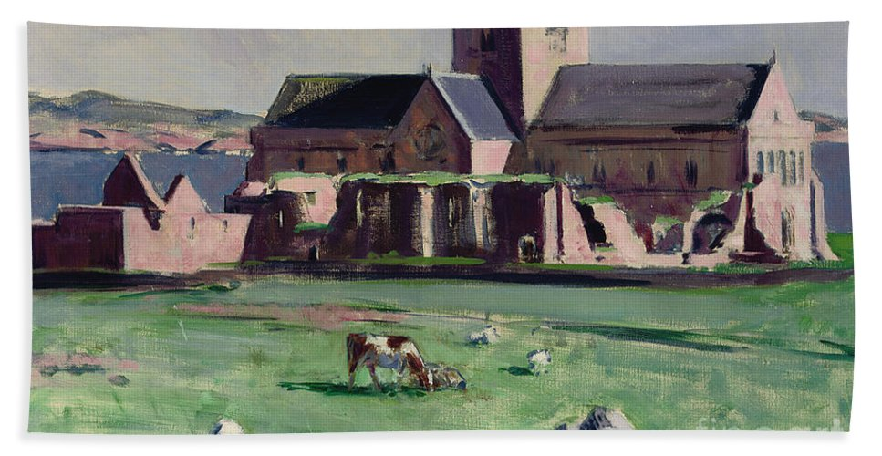 Cadell Beach Sheet featuring the painting Iona Abbey From The Northwest by Francis Campbell Boileau Cadell