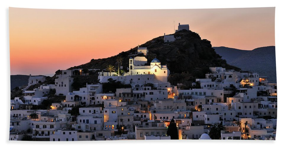 Ios Beach Towel featuring the photograph Ios Town During Sunset by George Atsametakis