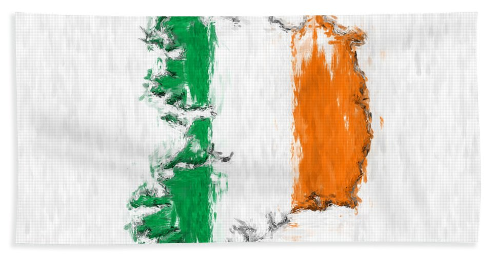 Ireland Beach Towel featuring the photograph Ireland Painted Flag Map by Antony McAulay