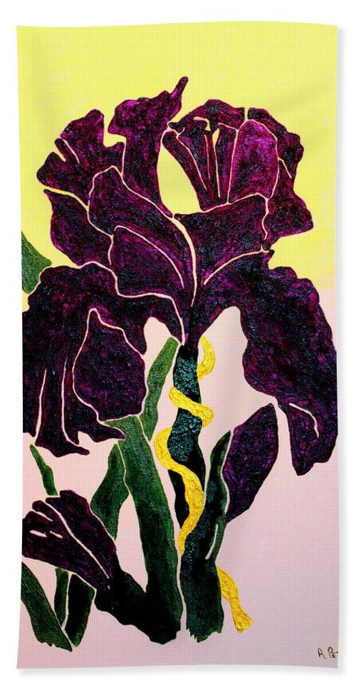 Iris Beach Towel featuring the painting Iris by Andrew Petras