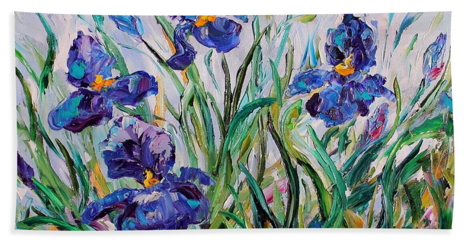 Iris Beach Towel featuring the painting Iris Garden by Karen Tarlton