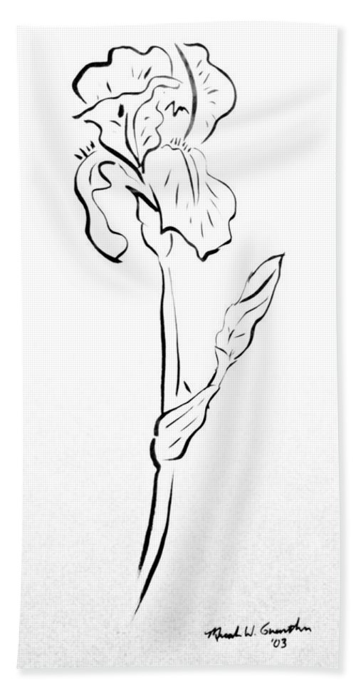 Abstract Beach Towel featuring the drawing Iris II by Micah Guenther