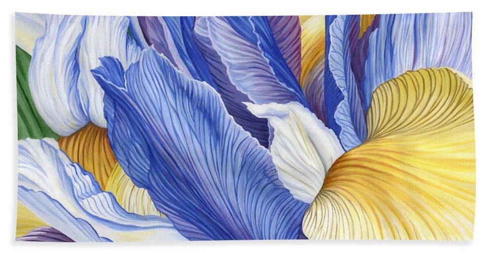 Iris Beach Towel featuring the painting Iris by Jane Girardot