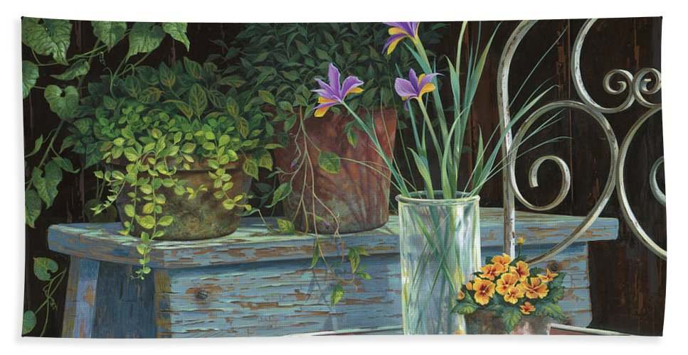 Michael Humphries Beach Towel featuring the painting Irises by Michael Humphries