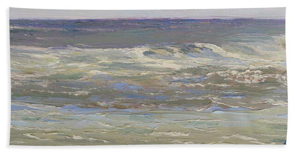 Seascape Beach Towel featuring the painting Island Beach Waves by Lea Novak