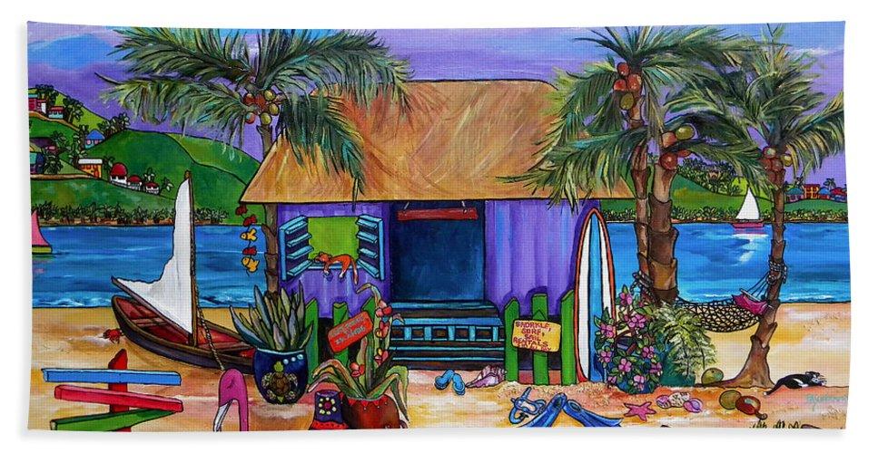 Island Beach Towel featuring the painting Island Time by Patti Schermerhorn