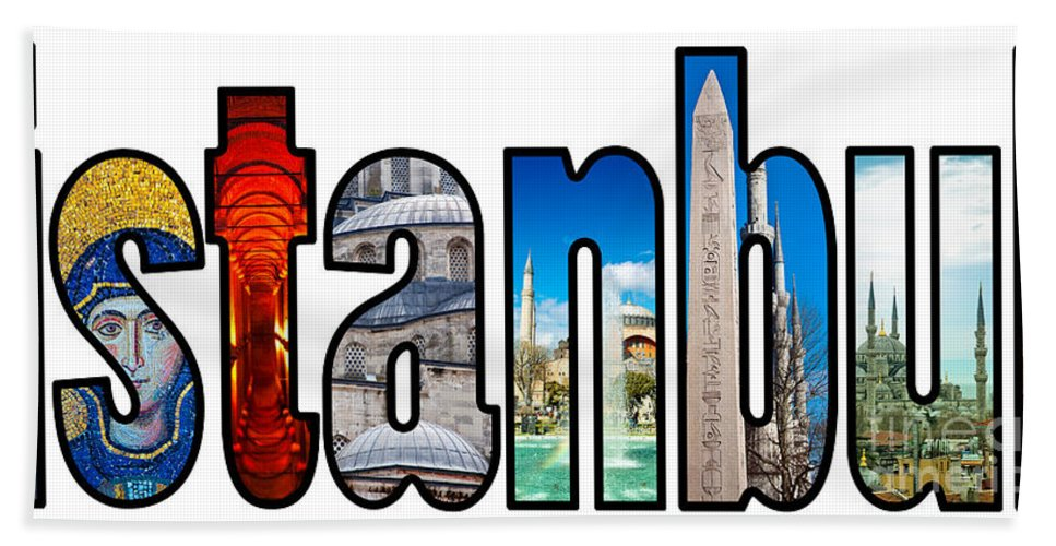 Istanbul Beach Towel featuring the photograph Istanbul Word Montage by Antony McAulay