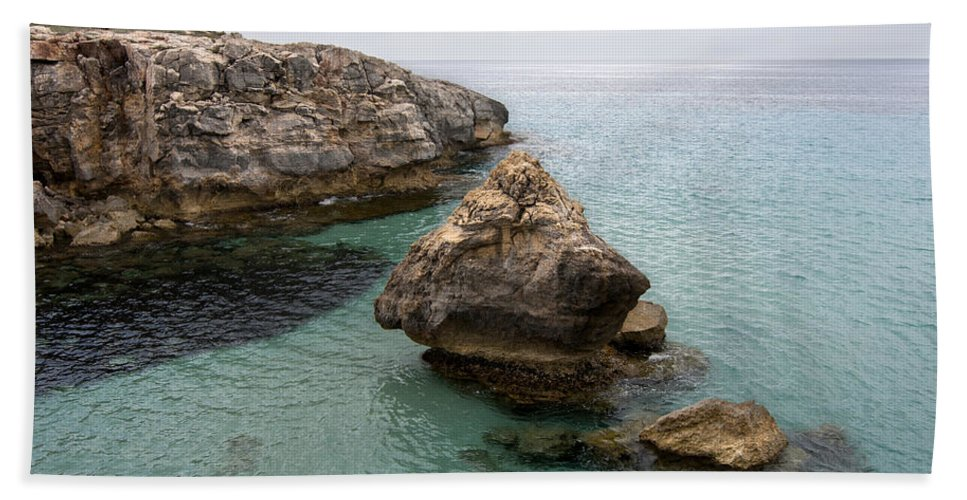 Blue Beach Towel featuring the photograph It Rocks 2 - Close To Son Bou Beach And San Tomas Beach Menorca Scupted Rocks And Turquoise Water by Pedro Cardona Llambias