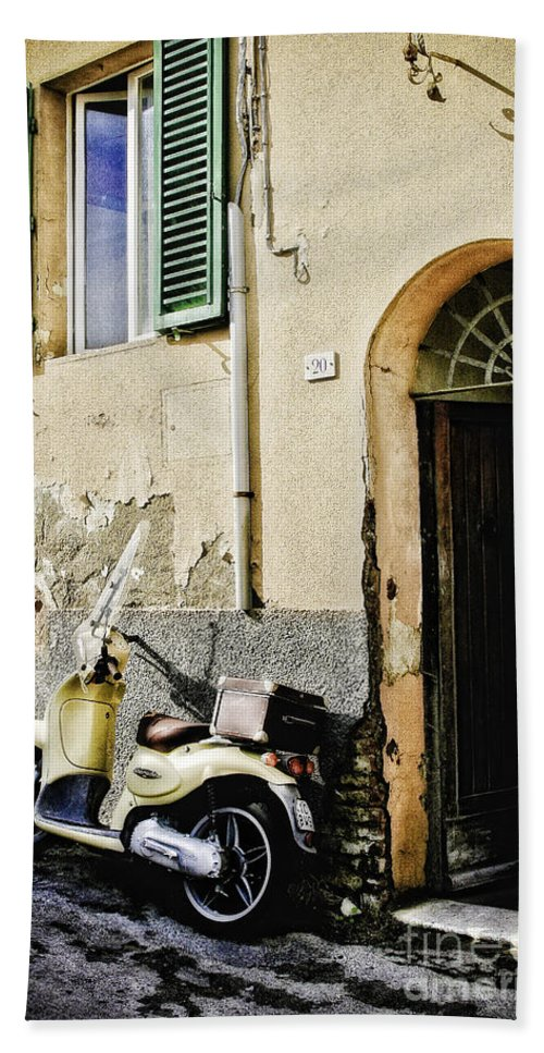 Timothy Hacker Beach Towel featuring the photograph Italian Motor Scooter by Timothy Hacker
