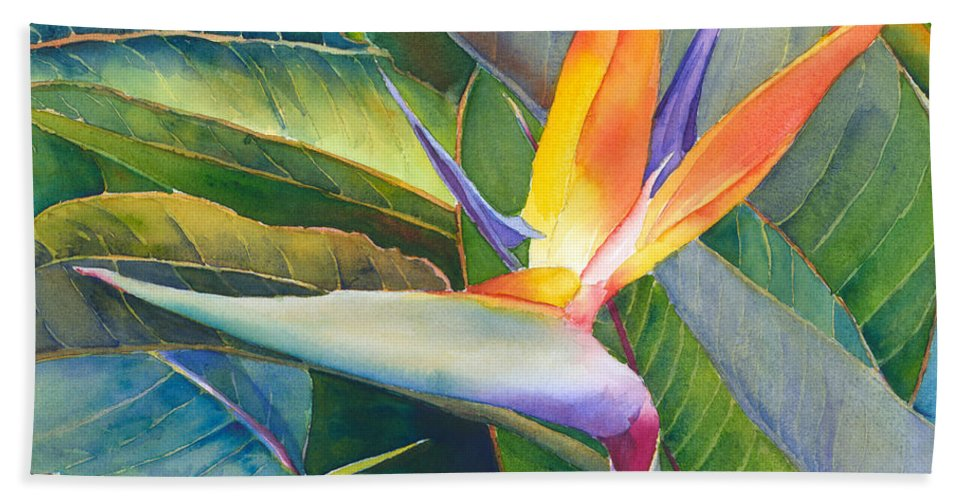 Bird Of Paradise Beach Towel featuring the painting Its A Bird by Judy Mercer