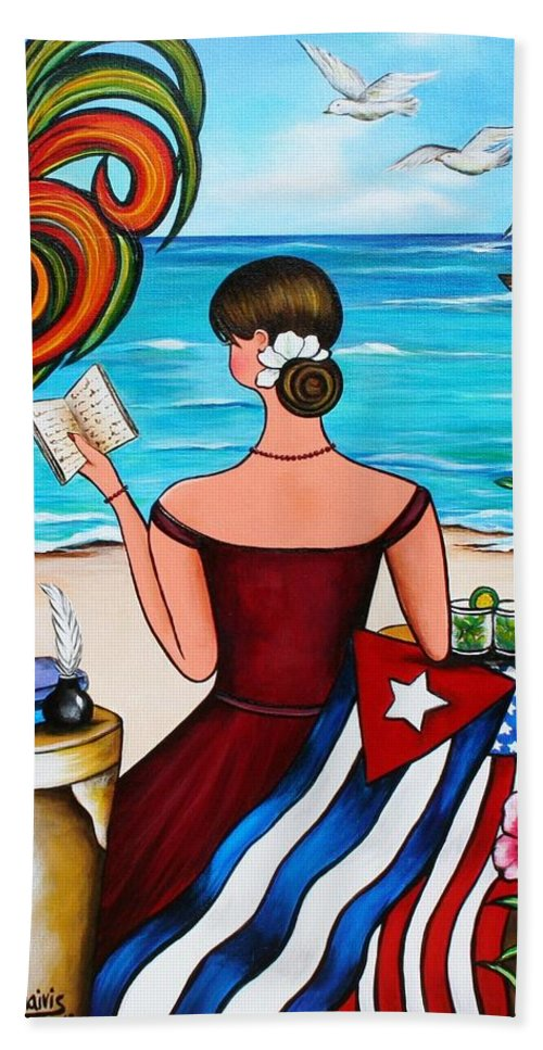 Cuba Beach Towel featuring the painting It's My Turn by Annie Maxwell