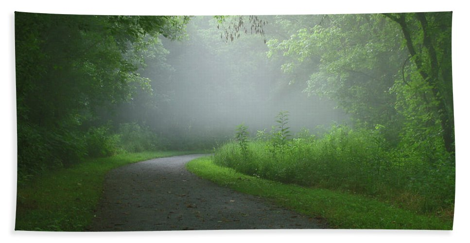 Green Beach Towel featuring the photograph Mystery Walk by Douglas Stucky