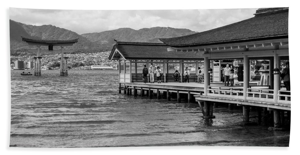 Miyajima Beach Towel featuring the photograph Itsukushima Shrine by Alex Snay