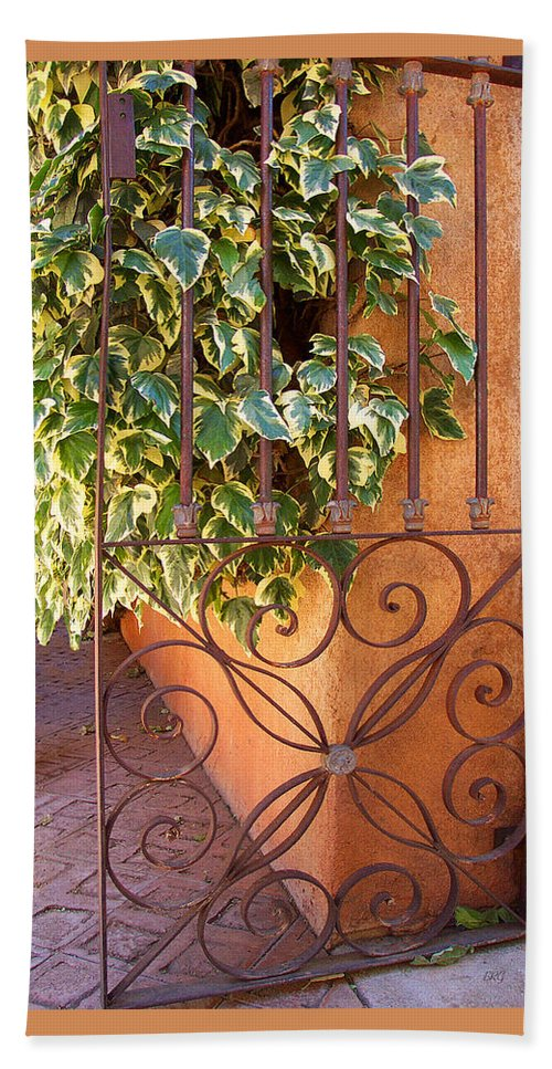 Green Ivy Beach Towel featuring the photograph Ivy And Old Iron Gate by Ben and Raisa Gertsberg