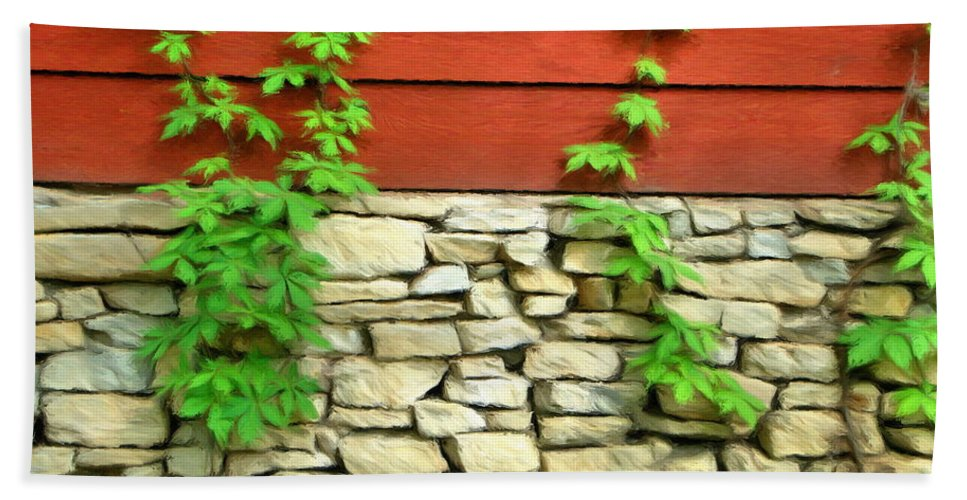 Architecture Beach Towel featuring the painting Ivy On Stone And Wood by Jeffrey Kolker