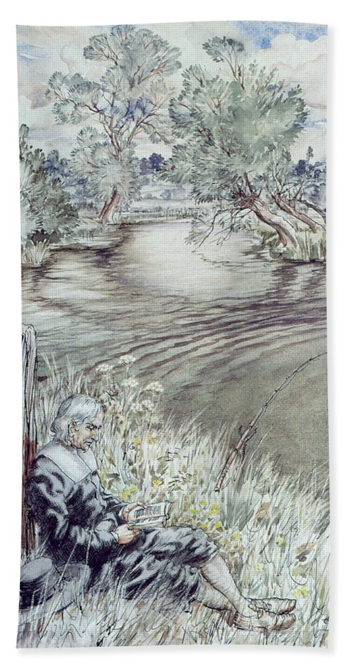 Reading; Fishing; Angling; Isaac Beach Towel featuring the drawing Izaak Walton Reclining Against A Fence by Arthur Rackham