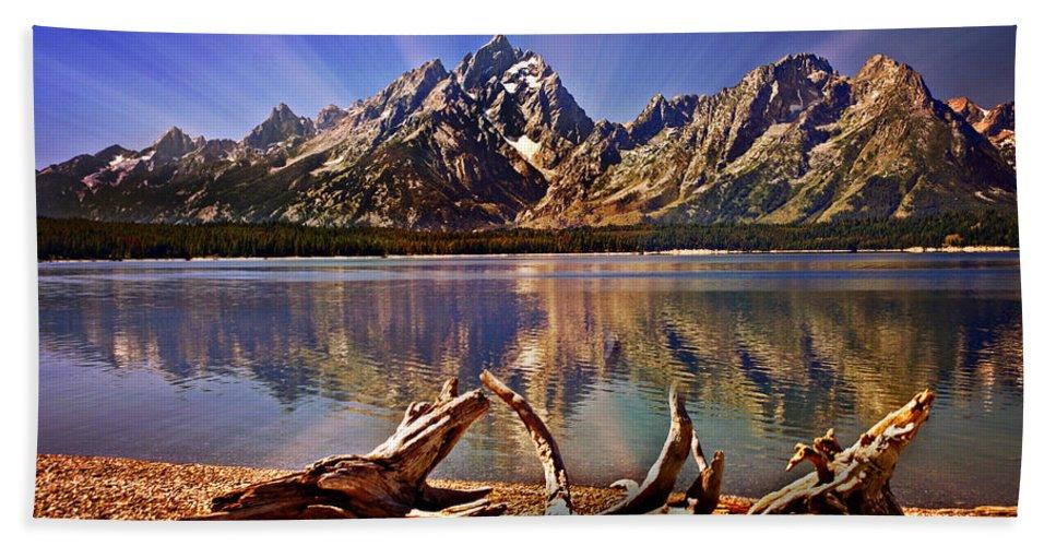 Grand Teton Beach Towel featuring the photograph Jackson Lake Mt. Moran by Marty Koch