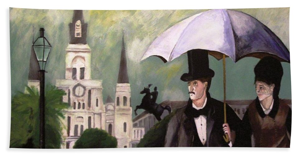 Jackson Square New Orleans Beach Towel featuring the painting Jackson Square by Rob Peters