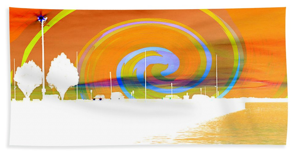 Pier Beach Towel featuring the photograph Jackson Street Pier - Orange Swirl by Shawna Rowe