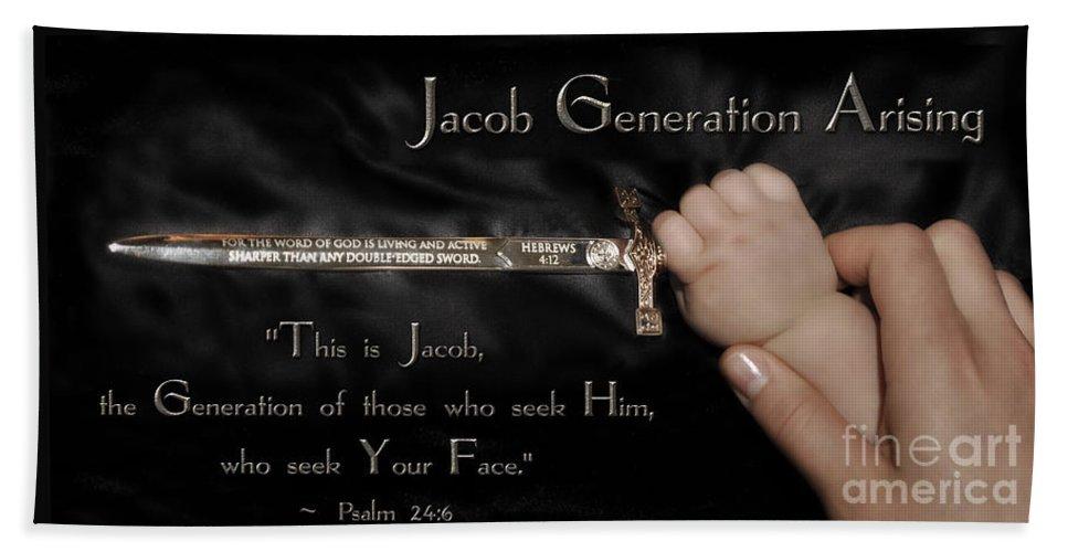 Jacob Generation Art Beach Towel featuring the digital art Jacob Generation by Constance Woods