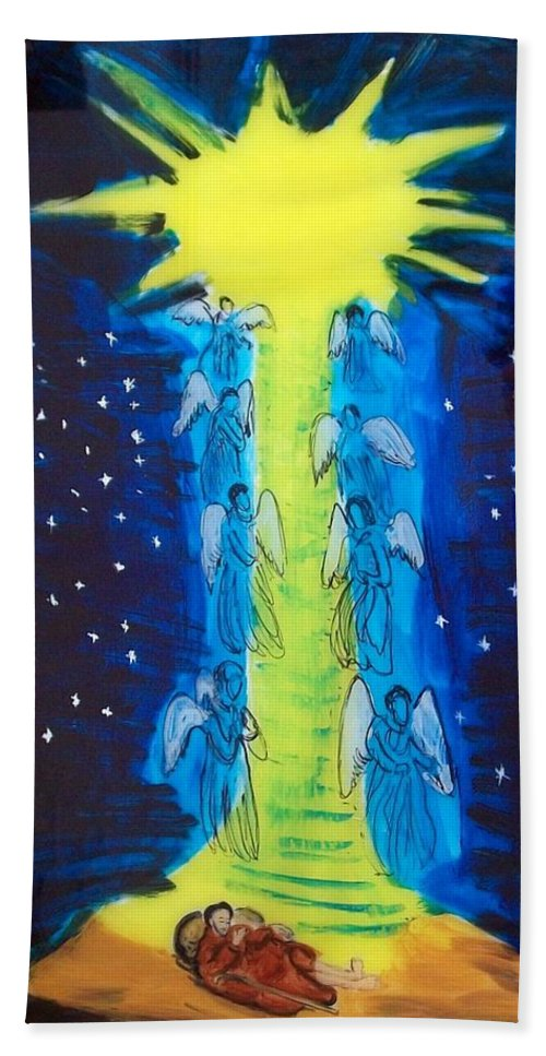 Religious Beach Towel featuring the painting Jacob's Ladder by Leo Boucher