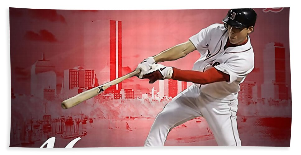 Home Art Beach Towel featuring the mixed media Jacoby Ellsbury by Marvin Blaine