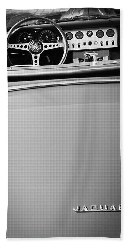 Jaguar Steering Wheel - Emblem Beach Towel featuring the photograph Jaguar Steering Wheel - Emblem by Jill Reger