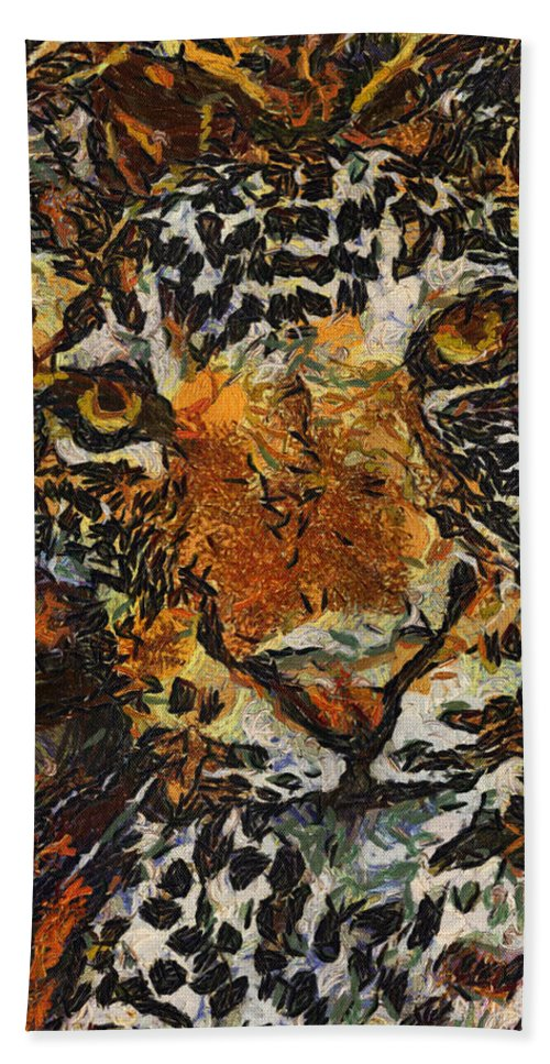Jaguar Beach Towel featuring the photograph Jagvangogh by Alice Gipson