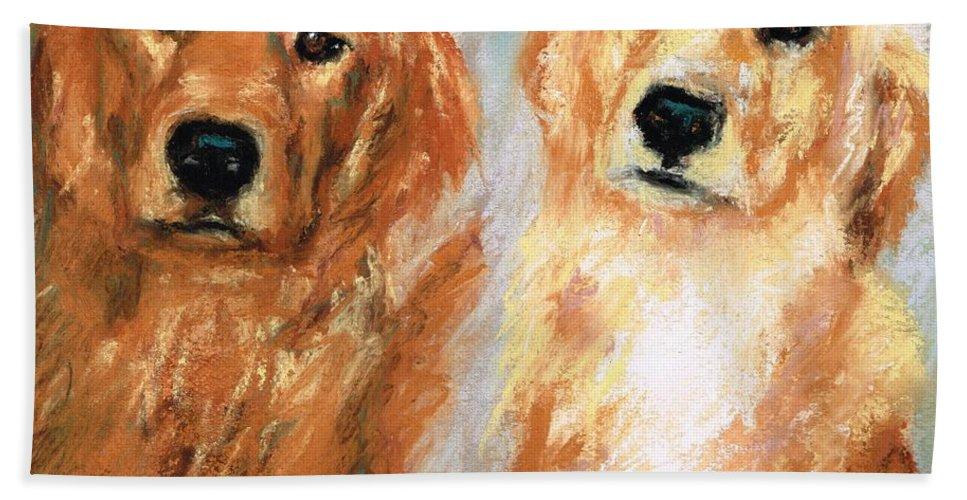 Golden Retrievers Beach Towel featuring the painting Henry And Jakie by Frances Marino