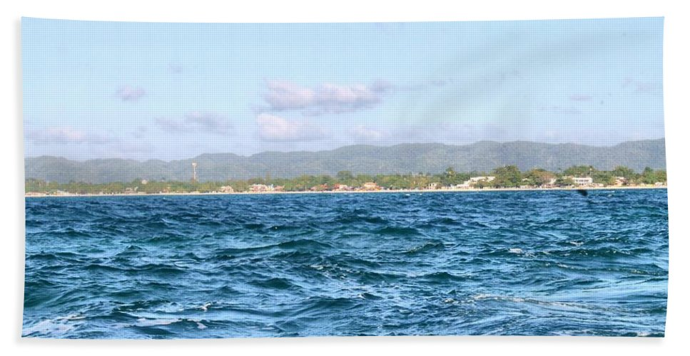 Jamaica Beach Towel featuring the photograph Jamaica At A Distance by Debbie Levene