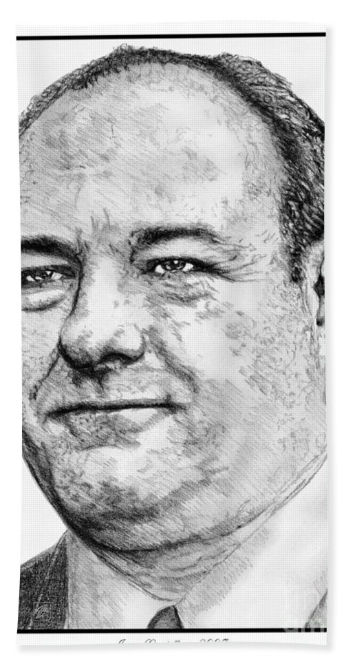 Mccombie Beach Towel featuring the drawing James Gandolfini In 2007 by J McCombie