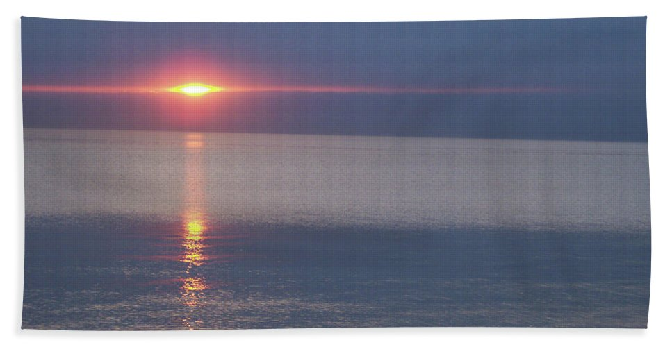 First Star Beach Towel featuring the photograph Flash Sunset Lake Huron By Jammer by First Star Art