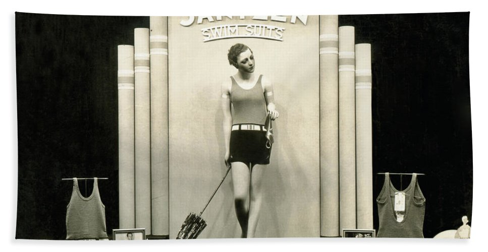 1920s Beach Sheet featuring the photograph Jantzen Swim Suit Display by Underwood Archives
