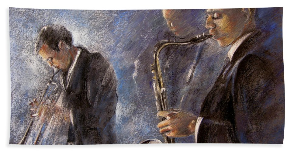 Jazz Beach Towel featuring the painting Jazz 01 by Miki De Goodaboom