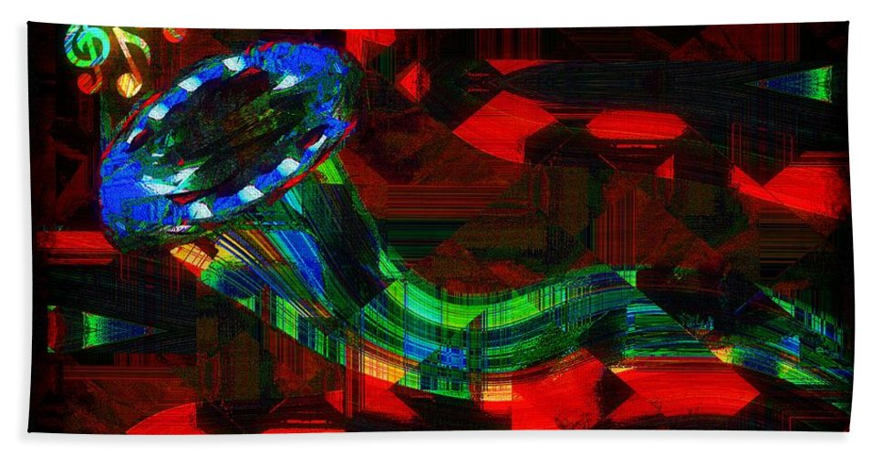 Horn Beach Towel featuring the painting Jazz At Midnight by RC DeWinter