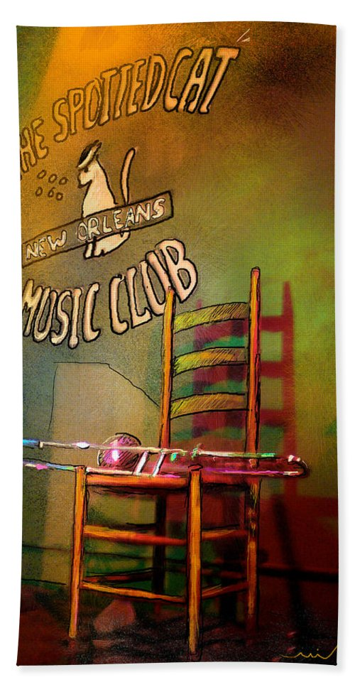 Jazz Beach Towel featuring the painting Jazz Break In New Orleans by Miki De Goodaboom