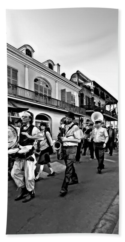 French Quarter Beach Towel featuring the photograph Jazz Funeral Bw by Steve Harrington